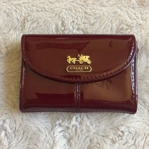 Coach Red Patent Leather Card Holder